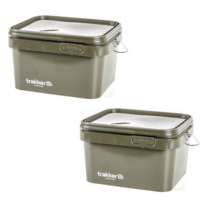 Trakker 5 Litre Green Square Bait Bucket X2 NEW Carp Fishing - 216106 • 13.99£