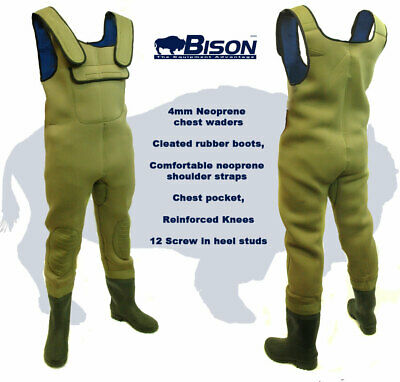 Bison 4mm Neoprene Chest Waders All Sizes With Free Studs. • 44.99£