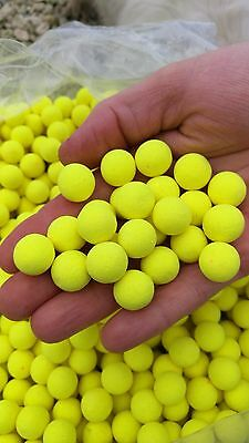 Bright Yellow Krill Flavour Fluoro Pop-ups Boilie Fishing Bait 15mm Carp Bait • 3.15£