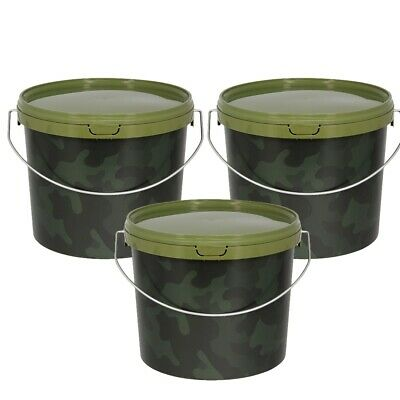 3 X 3l CAMO FISHING BAIT BUCKETS FOR BOILIES GROUND BAIT KRILL BAITS PELLETS NGT • 12.06£