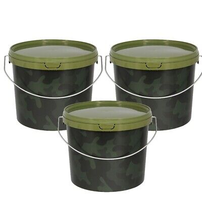 3 X 3l CAMO FISHING BAIT BUCKETS FOR BOILIES GROUND BAIT KRILL BAITS PELLETS NGT • 9.95£