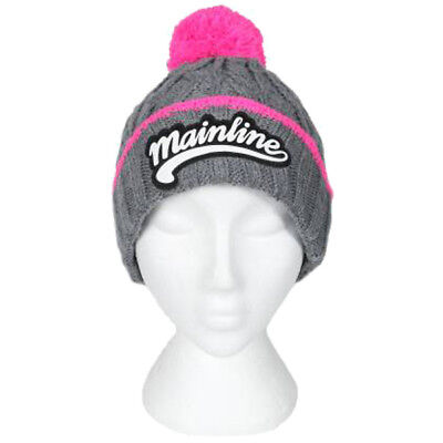 Mainline Baits Grey And Pink Chunky Bobble Hat NEW Carp Fishing Hat • 16.99£