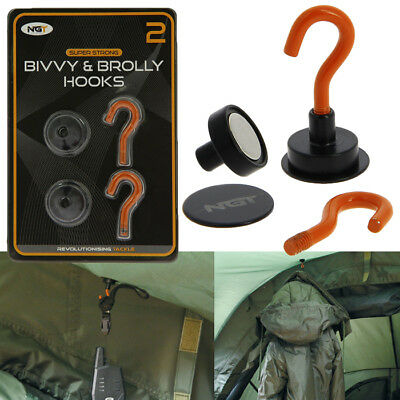 Ngt Bivvy Brolly Hooks Magnetic With Backing Plate Pack Of 2 Carp Fishing Tackle • 4.95£