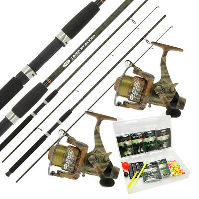 2 X CAMO STALKER RODS & REEL SETS WITH TERMINAL TACKLE BOX SET CARP FISHING SET • 62.82£