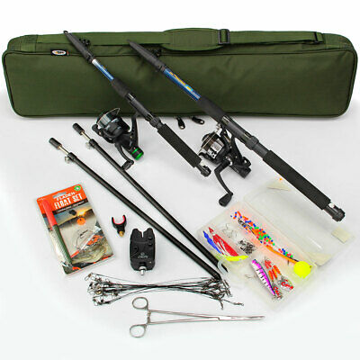 Pike Fishing Travel Set Up With Spinning Rod Pike Rod Holdall Bite Alarm Traces • 89.95£