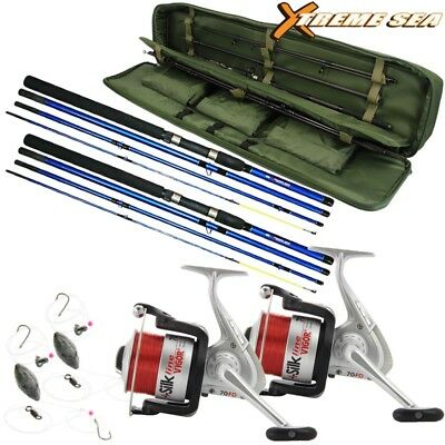 Travel Sea Fishing Rod And Reel Set 9ft Rods Sea Reels Bag Rod Holdall Holiday • 69.95£