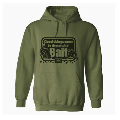 THOSE WHO BAIT Original Olive Green Mens Fishing Hoodie Angling Hoody Clothing • 22.99£