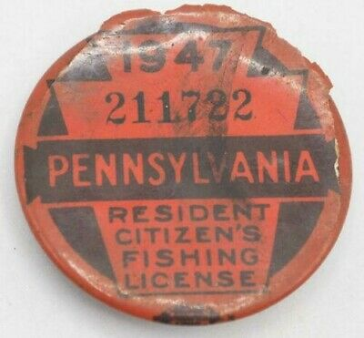 1947 PA Pennsylvania Fishing License Resident Button Vintage • 31.02£