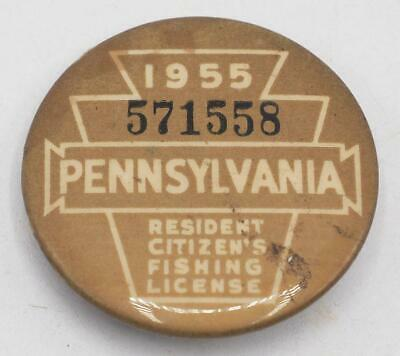 1955 PA Pennsylvania Fishing License Resident Button Vintage • 31.02£