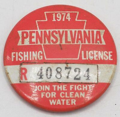 1974 PA Pennsylvania Fishing License Resident Button Vintage • 31.02£