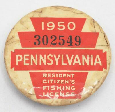 1950 PA Pennsylvania Fishing License Resident Button Vintage • 31.02£