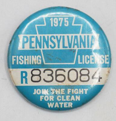 1975 PA Pennsylvania Fishing License Resident Button Vintage • 31.02£