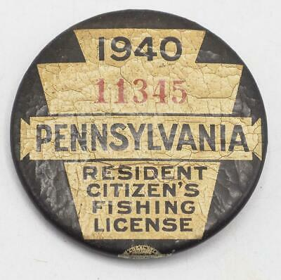 1940 PA Pennsylvania Fishing License Resident Button Vintage • 31.25£