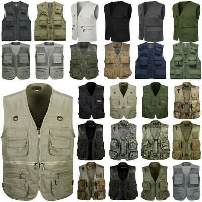 Men Utility Multi Pocket Fly Fishing Vest Waistcoat Shooting Hunting Outdoor UK • 18.04£