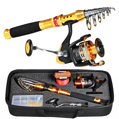 Complete Fishing Kit Telescopic Sea Rod Spinning Reel Nylon Line Lure Tackle Set • 50.65£