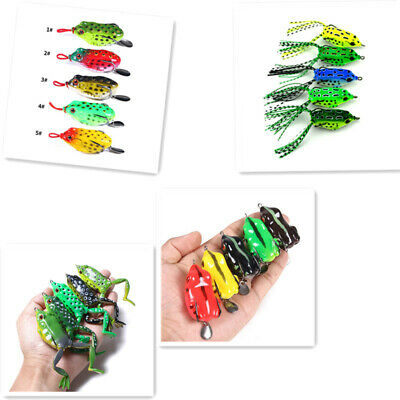5pcs Water Surface Frogs Lure Topwater Lures Fishing Bait Box Various Stance • 9.39£