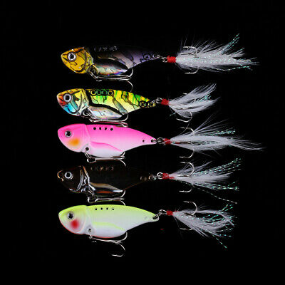 5* Metal Fishing Lures Hard VIB Bait Crankbait SET Fishing Tackle Colorful • 8.69£
