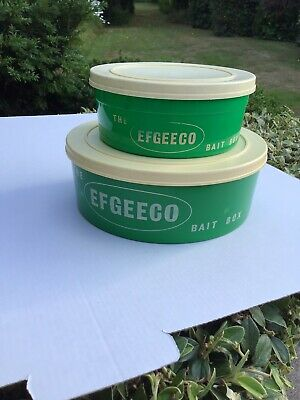Qty 2 Vintage Green Plastic (efgeeco) Bait Boxes  With Lids (for Maggots, Etc) • 19.99£