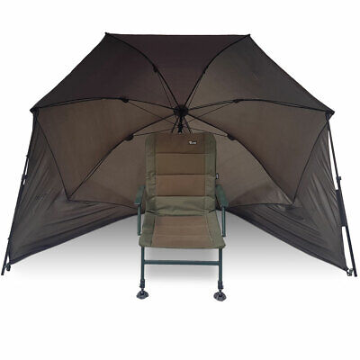 50  Fishing Brolly Umbrella Carp Coarse Fishing Day Shelter Storm Poles Included • 49.95£
