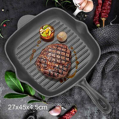 Griddle Frying Pan Grill Cast Iron Non Stick Skillet Cooking Fry Square Steak UK • 19.59£