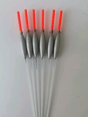6  X Slim Pole Floats. Glass Stem 0.4g Silicon Included 2.5m Tip Strong Handmade • 6.75£