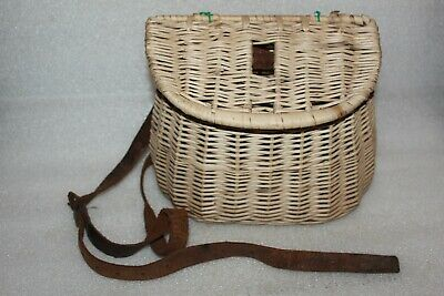 Vintage Fly Fishing Wicker Creel With Leather Strap • 9.99£
