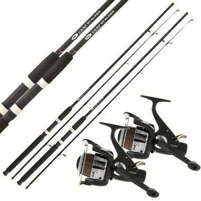 2 X CARP STALKER FISHING RODS 8ft, 2pc Stalking Rod + 2 Carp Runner Reels NGT • 49.95£