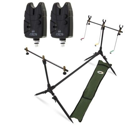 Carp Fishing Pod & Alarms With Swingers 2 Bite Alarms, 3 Rod Rests & Bag NGT • 30.44£