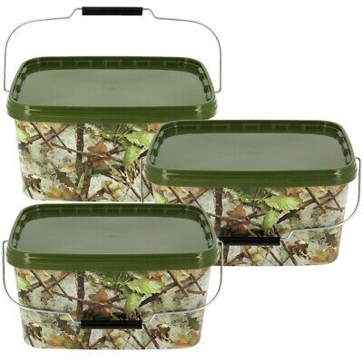 3 X SQUARE 5L CAMO BAIT BUCKET FOR BOILIES PELLETS CARP FISHING TACKLE BAIT • 16.71£