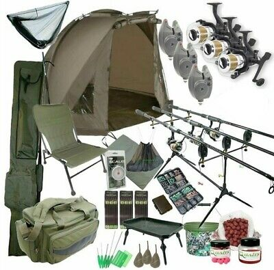 3 Rod Carp Set Up With Bivvy Tent. Carp Fishing Set. Rods Reels Bait Bag Holdall • 329.95£