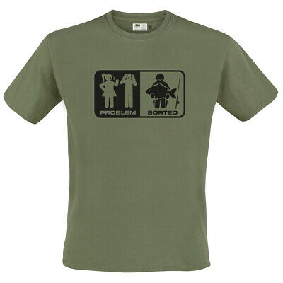 FUNNY 'Problem - Sorted' Mens Carp Fishing Angling T Shirt, Gift For Dad Grandad • 10.99£