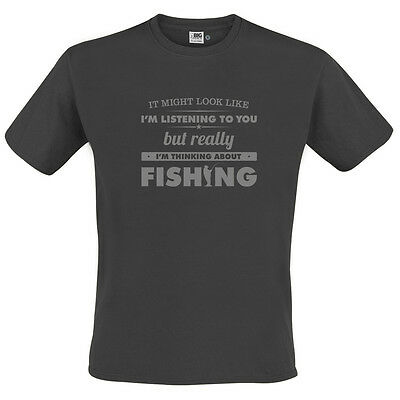 FUNNY Mens Fishing Gift Novelty T-Shirt Thinking About Fishing Angling Clothing • 12.99£