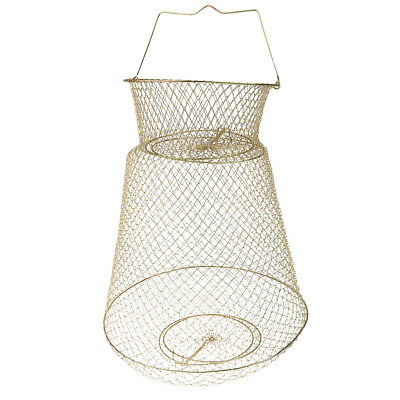 Gold Tone Steel Wire Foldable Fish Cage Fishing Keep Net 38cm Dia • 17.76£