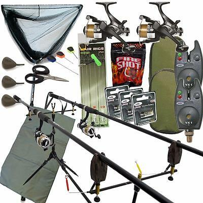 Full Carp Fishing Set Up With Rods Reels Bite Alarms Landing Net Pod & Tackle • 104.95£