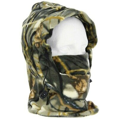 Fully Fleeced Adjustable Camo Snood Neck Face Warmer Fishing Hunting Hat Scaff • 5.55£