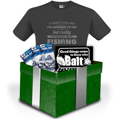 BIRTHDAY Thinking About Fishing T Shirt Gift Set Mens Angling Clothing For Dad • 16.99£
