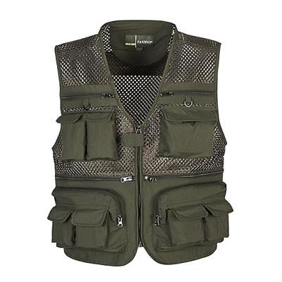 Multi Pocket Outdoor Quick-dry Fishing Mesh Vest Photography Hunting Waistcoat • 13.74£