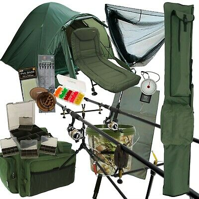 Complete Carp Fishing 2/3 Rod & Reel Set Up Bedchair Bivvy Tackle Leads PVA Net • 573.58£
