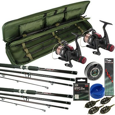 Travel Fishing Rod And Reel Set 9ft Rods Reels Bag Holdall Floats Hooks Feeders • 83.80£
