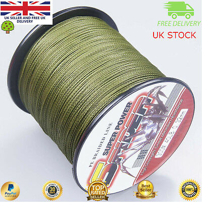 Super Dyneema 100-2000M  12-90LB Fishing Braid Carp Line Army Green Spod Marker • 29.99£