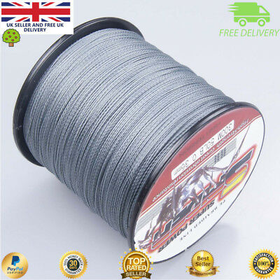 Super Dyneema 100-2000M  15-90LB Fishing Braid Carp Line Army Grey Spod Marker • 19.99£