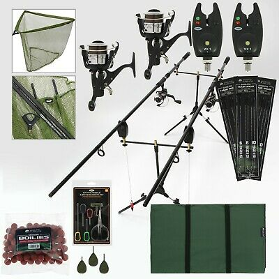 2 Rod Carp Fishing Set Up Kit With Reels Landing Net Pod Bait Mat Tackle NGT • 163.84£