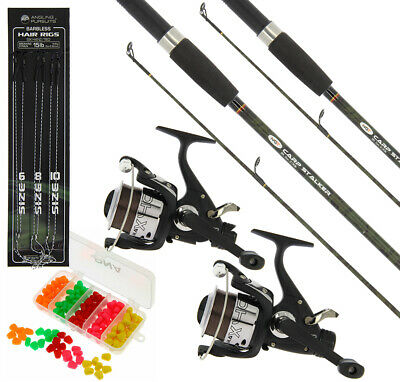 2 X Carp Fishing Stalker Rods & Reels Set Up With Tackle Set Ideal For Stalking • 61.45£
