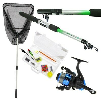 Telescopic Fishing Rod & Reel Set With Fishing Net And Handle Kids Rod Reel Sst • 29.95£