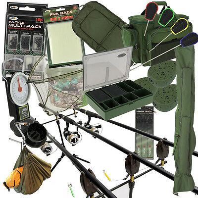 Carp Fishing 2/3 X Rod And Reel Complete Set Up + Carryall Alarms Tackle PVA Pod • 259.44£