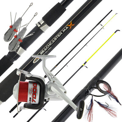 NGT Beachcaster MAX 12ft Sea Rod + MAR7000 1BB Sea Reel + 2x 4oz Leads & Feather • 71.01£