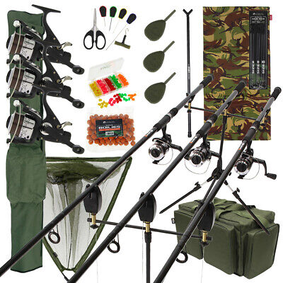 Complete Carp Fishing Set Up 3 Rods Reels Pod Net Alarms Mat Carryall Tackle • 218.47£