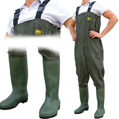 Double PVC Layer Waterproof Chest Coarse Fly Fishing Waders Size 7 8 9 10 11 12 • 26.95£