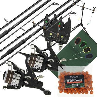 2x Carp Fishing Rods 2x 2BB Reels 2x Bite Alarms Rod Pod Mat 4pc Tools & Boilies • 88.76£