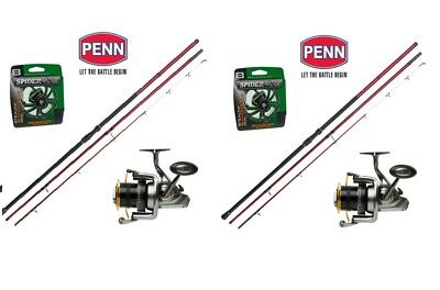 2X PENN SURF COMBO 13ft & 15ft 9  WITH PENN SURFBLASTER 7000 OR 8000 &SPIDERWIRE • 410.99£